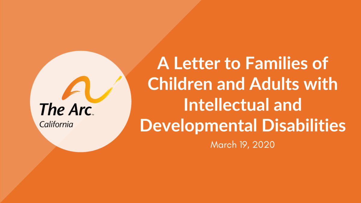 A Letter to Families of Children and Adults with Intellectual and Developmental Disabilities