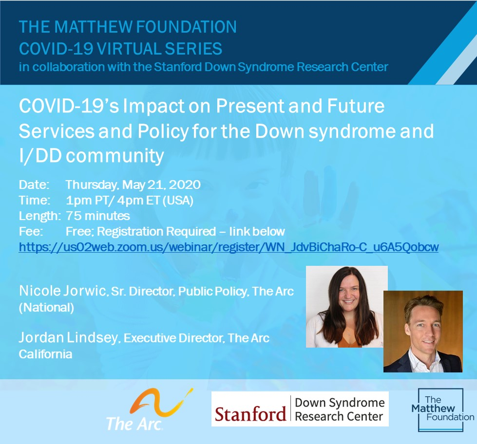 Upcoming Webinar – COVID-19's Impact on Present and Future Services and Policy for the Down Syndrome and I/DD Community